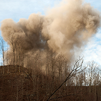 mountain top removal mining explosion