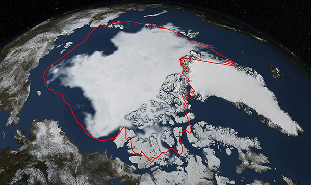 map of Arctic sea ice retreat