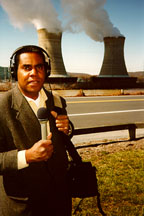 Photo: Steve Curwood outside the Three Mile Island Nuclear Power Plant